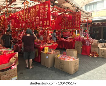 chinese new year decoration in a street market in Clementi, Singapore February 1st 2019