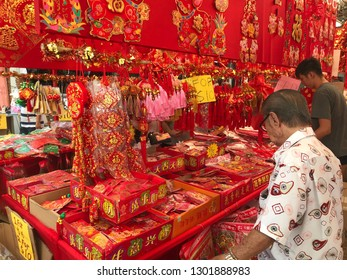 Chinese new year decorations in a street market in Clementi, Singapore February 1st 2019