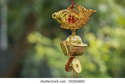 Chinese New Year decoration.Various of Chinese red decorations hanging. With greeting word wish you have a good year, good health, good luck and rich.selective focus