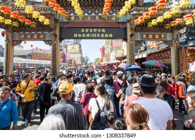 Chinese New Year everyone went to the temples to seek a new year of peace.February 7, 2019 Lugang Mazu Temple in Taiwan