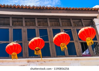 Chinese new year lanterns in Georgetown city, Penang island, Malaysia