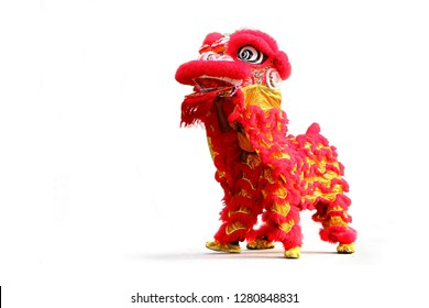Chinese New Year lion dance celebration over white background