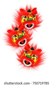 Chinese New Year Lion Heads Ornament on White Background