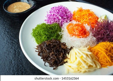 Chinese New Year Lou Sang 捞生 Yusheng traditional food celebration for blessing