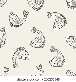 """Chinese New Year; Chinese lucky fish means """"May you always get more than you wish for."""" doodle seamless pattern background"""