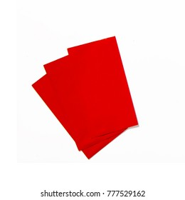 Chinese new year red envelope with wish on isolated top view. flaylay