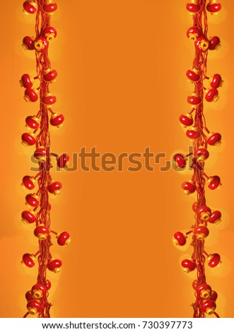chinese new year red lanterns border orange colour background text space image