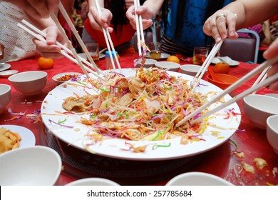 Chinese New Year  Yee Sang dish for Prosperity Toss Celebration also known by Yu Sheng Spring Toss