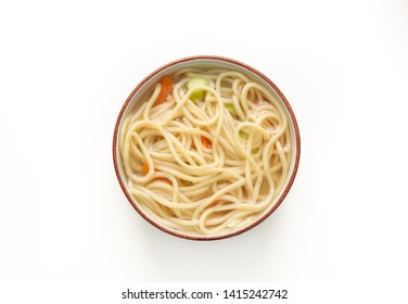 Chinese noodle or udon with vegetables and chopstick on isolated white background