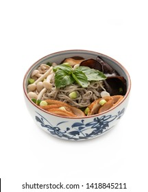 Chinese noodle with vegetables on isolated white background
