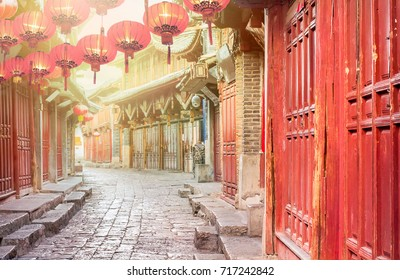Chinese old town in the morning , Lijiang Yunnan ,China