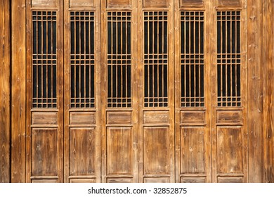 Chinese old wooden door  in a  ancient building,this style is used in several hundred years ago