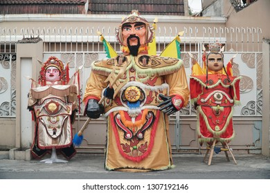 The Chinese ondel-ondel, big doll with unique costumes