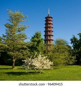 Chinese pagoda in Kew Gardens, London, UK