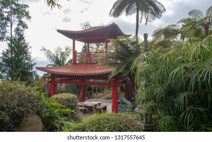 Chinese pagoda located in tropical garden Madeira island Portugal