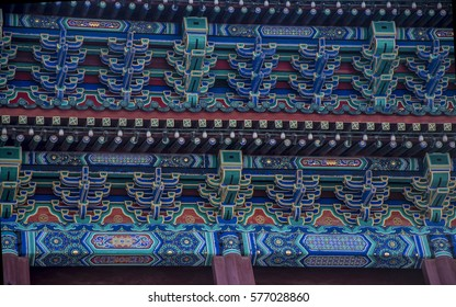 Chinese pagoda roof showing the detail of patterns