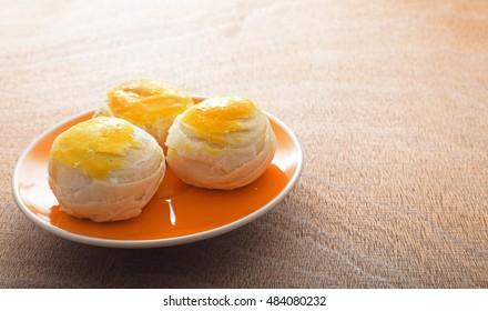 Chinese pastry or moon cake, Mung bean filling cake, Thai sweet