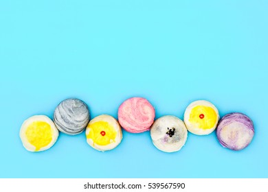 Chinese Pastry or Moon cake or Mung bean filling cake or Egg yolk shortcake, Asian Traditional Dessert with copy space