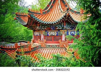 Chinese Pavilion in Forest