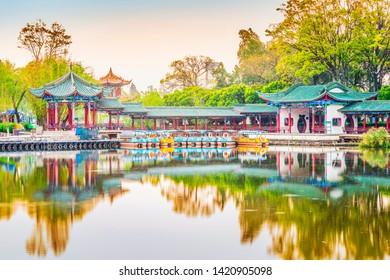 Chinese pavilion in the garden. Located in Dianchi lake, Kunming Daguan Park, Kunming, Yunnan, China.