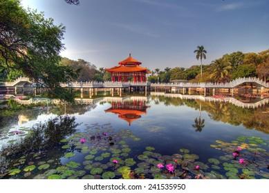 Chinese Pavilion Reflection on Lotus lake, Tainan Park, Taiwan