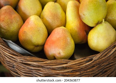 chinese pear in basket selling in the supermarket
