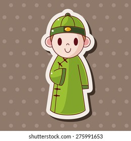 Chinese people , cartoon sticker icon