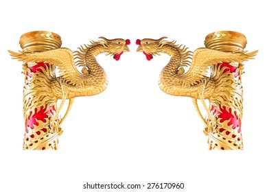 Chinese phoenix statue on pillar isolated on white background