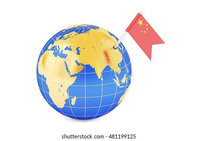 Chinese pin flag on globe map, 3D rendering