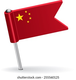 Chinese pin icon flag. Raster version