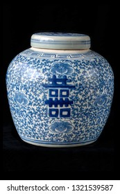 "Chinese porcelain blue and white vases with ""Double Happiness"" Chinese character"