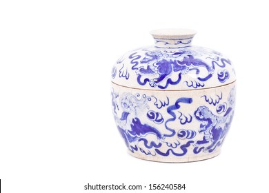 Chinese porcelain bowl isolated on white