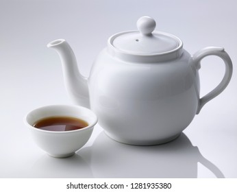 chinese porcelain teapot on white background
