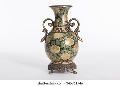 Chinese Porcelain Vase On White Background