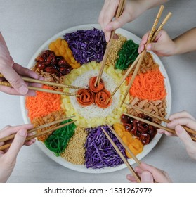 Chinese raw fish salad / Chinese New Year's Family Prosperity Toss / Colorful vegetables, crushed peanuts, baby octopus, jellyfish, crispy fritters, fresh seaweeds strips and sweet sour spicy dressing