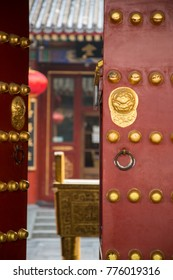 Chinese red gate doors with lion door knob, Forbidden City