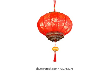 Chinese red lamp Color of luck Chinese belief isolated on white background