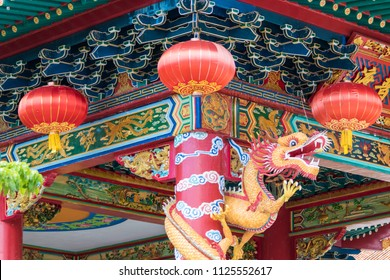 Chinese red lantern as decoration on Chinese Temple at Kota Kinabalu, Sabah, Malaysia