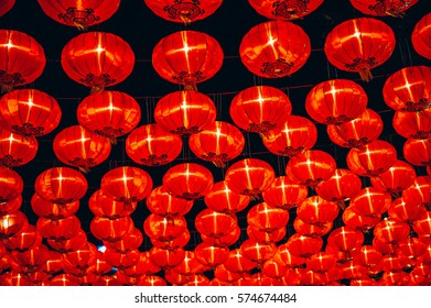 Chinese red lantern hanging on the street