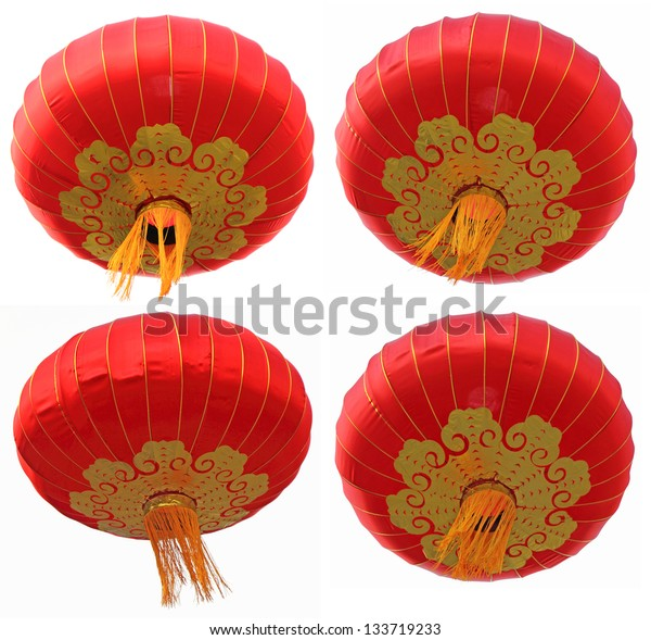 Chinese red paper lanterns isolated on a white background