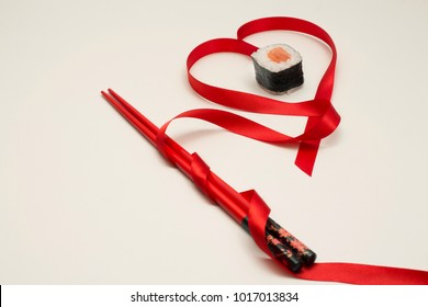 Chinese red sticks for design poster, menu, advertisment. Purpose in asian restaurant. Red ribbon heart. Gold ring