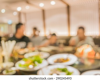 Chinese restaurant blur background with bokeh image .