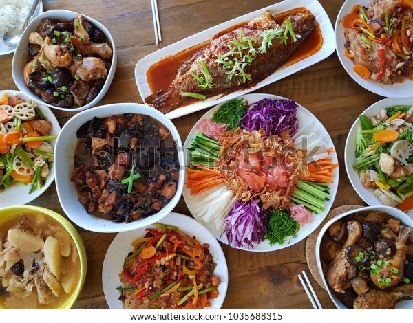 Chinese Reunion Donner Cuisine On Table Stock Photo Edit Now 1035688315