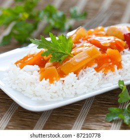 chinese rice meal with sweet sour chicken