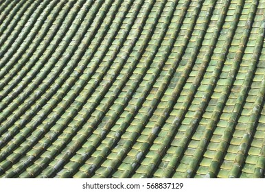 The Chinese Roof Tiles With Curve Design.