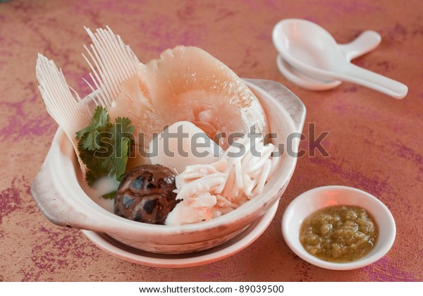 Chinese Royal sharks fin soup with fish noodles and mushroom