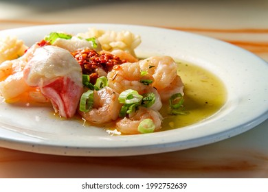 Chinese seafood medley of shrimp calamari and lobster