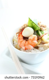 Chinese seafood stir fried on rice
