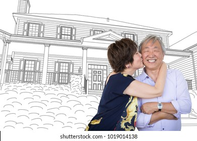 Chinese Senior Adult Couple Kissing In Front Of Custom House Drawing Plans.