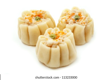 Chinese shumai on a white background